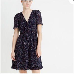 MADEWELL Flutter-Sleeve Ruffle-Hem Dress in Sugar Dot Navy Blue Size 8